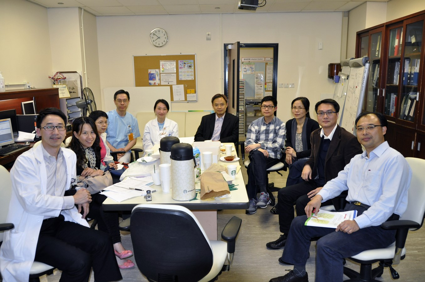 15 April 2013 - The 1st Website Working Group Meeting (From Left to Right: Drs Angus Lo, Jenny Ngai, Jane Cheung, Arthur Lau, Grace Lam, YC Yeung, HN Tse, KY Wong, WL Law, and CK Ng)